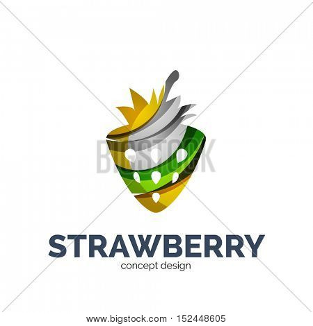 creative abstract strawberry fruit logo created with waves