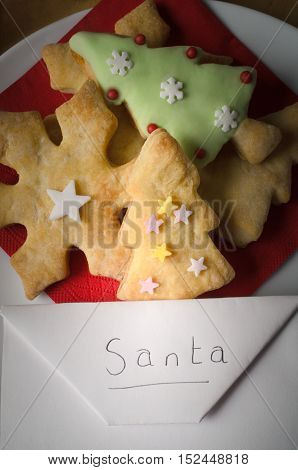 Christmas Biscuits With Envelope Addressed To Santa