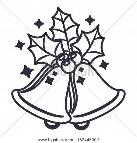 Bell with leaves icon. Merry christmas season celebration and decoration theme. Isolated design. Vector illustration
