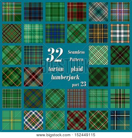 Set of thirty two tartan seamless pattern in motley colors. Traditional Scottish Ornament. Tartan Plaid Inspired Background. Seamless Samples for Background, Suitable for Christmas and New Year. Trendy Vector  Illustration