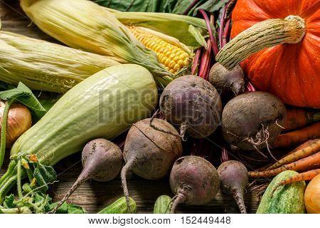 Pile of various raw fresh vegetables