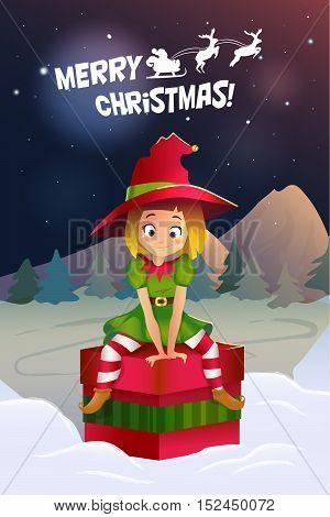 Merry christmas colorful card design, Santa Claus elf helper. cute little girl siting on the gift box