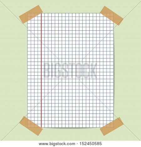School notebook graph paper. Vector illustration of squared notepad