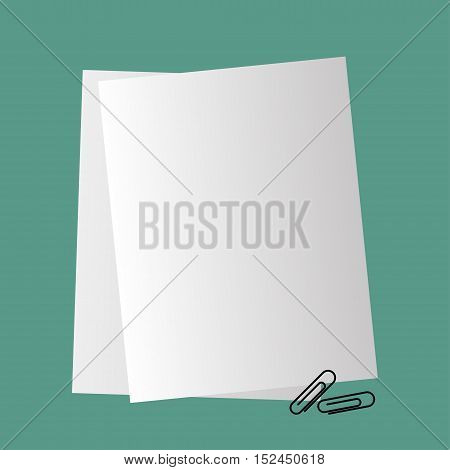 Paper with a paper clip, vector illustration