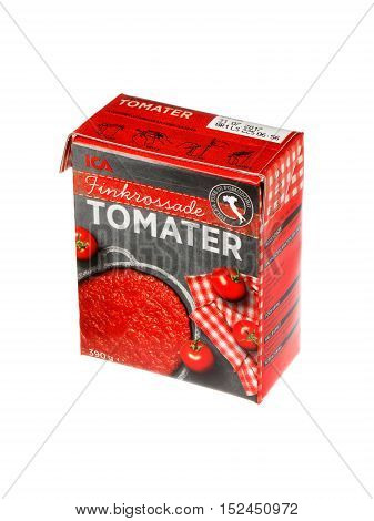 Stockholm, Sweden - December 19, 2015: Pack of 300 grams of finely crushed tomatoes sold under the ICA brand in the Swedish market..