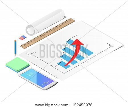 The sheets of paper. The eraser and the pencil. Mobile phone. Line. The roll of paper. Schedule of profit growth. mock up Business strategy