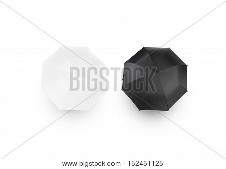 Black and white umbrella mockups, isolated, top view, clipping path. Parasol surface design mock up set. Plain bumbershot shape template. Clear opened umbel from above. Gingham accessory blanding atop