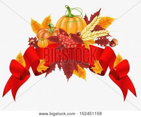 Happy Thanksgiving Celebration Background. Autumn Yellow, Orange Pumpkin, Bright Leaves, Rowan Berri