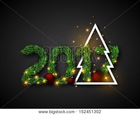 2017 numeric from fir branches with abstract christmas tree and ball. Christmas concept with glowing lights black background. Vector illustration.