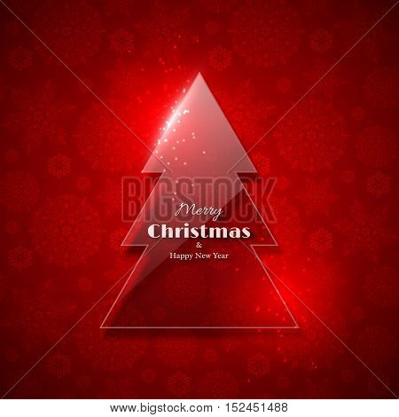 Transparent glass Christmas tree with glowing light red background snowflake pattern. Merry Christmas and Happy New Year text. Vector illustration