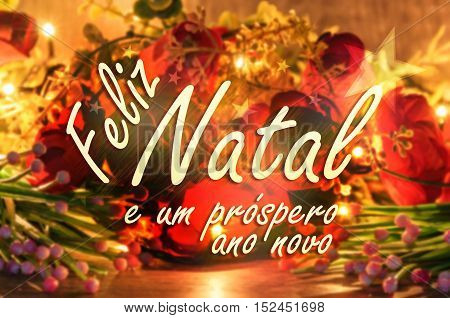 Merry Christmas message in Portuguese. Feliz Natal e um prospero ano novo message with christmas lights and a flowers on the background.