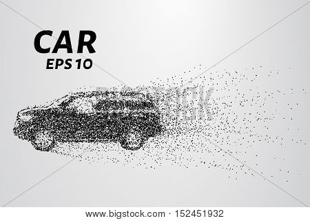 Car from the particles. The car breaks down into molecules. The car consists of circles blown away by the wind.