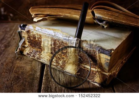 retro wooden background book on the concept of reading old books as a way of life