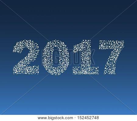 Happy New Year 2017 starburst. Christmas vector illustration.