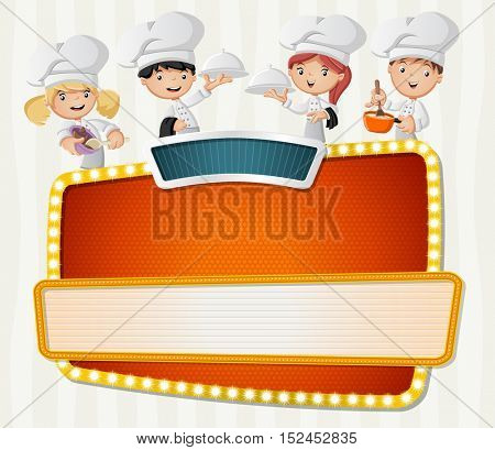 Vector banners backgrounds with cartoon chefs cooking and holding tray with food. Design text billboard.