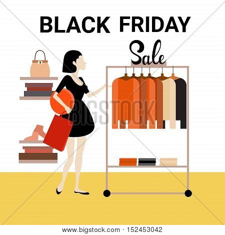Woman Shopping Clothes Fashion Shop Black Friday Big Sale Flat Vector Illustration