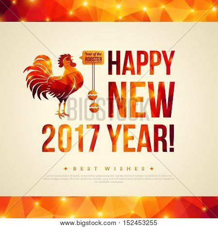 Happy Chinese New Year 2017 Greeting Card. Vector Illustration. Year of the Rooster. Geometric Shining Pattern Frame. Horizontal Banner.
