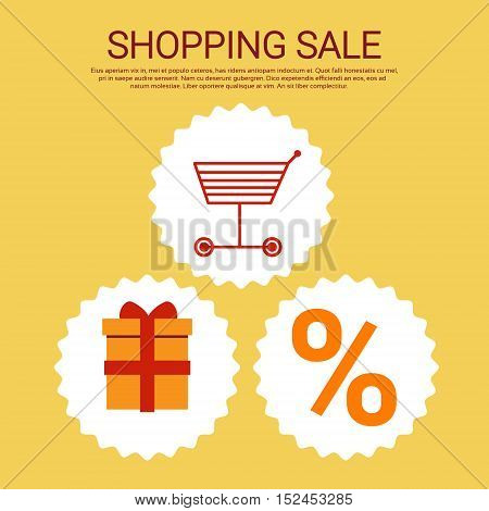 Shopping Cart Present Box Big Sale Banner Vector Illustration