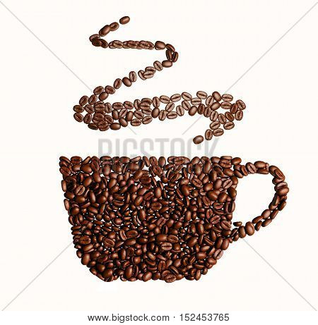 3D Illustration of Cup with coffee beans on red background