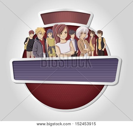 Vector banners backgrounds with manga anime people. Design text billboard.