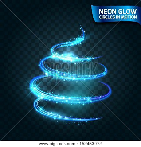 Neon Glow circles in motion blurred edges magical glow tree christmas design bright blue color. Abstract glowing ring speed of the effect. Abstract lights in a circular motion. Vector illustration
