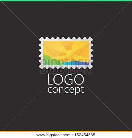 Logo template postage stamp, mark. Brand branding logotype company identity corporate. Clean and modern style design
