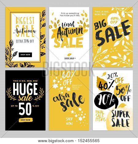 Vector illustrations of season online shopping website and mobile website banners, posters, email and newsletter designs, ads, coupons.