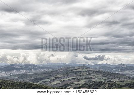Background with a really cloudy sky landscape