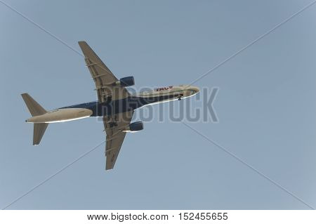 Lisbon, Portugal: 17th July 2016: Airplane taking off. Big passenger or cargo aircraft airline. Transportation