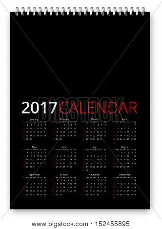 Simple calendar 2017 black colored template. Week starts from sunday. Vector realistic spiral notepad notebook