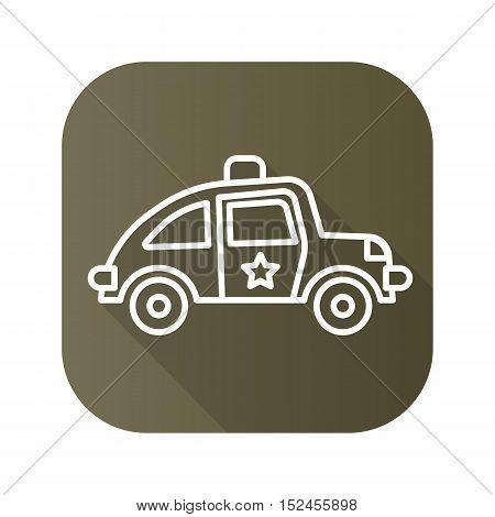 Police car flat linear long shadow icon. Vector line symbol.