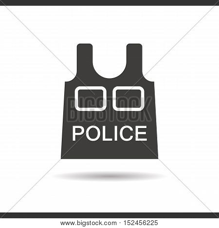 Police bulletproof vest icon. Drop shadow silhouette symbol. Negative space. Vector isolated illustration