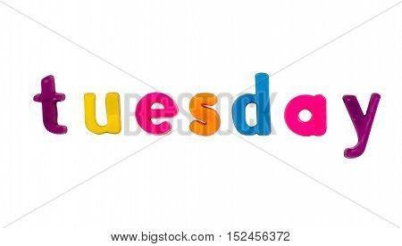 Plastic multicoloured plastic letters with the word Tuesday