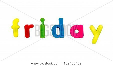 Plastic multicoloured plastic letters with the word Friday