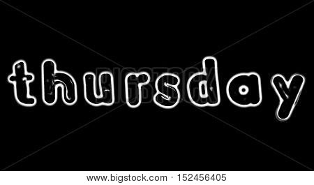 Plastic letters with the word Thursday converted to black and white illustration