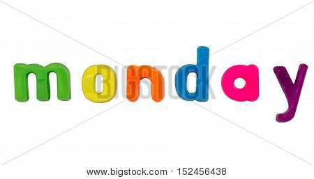Plastic multicoloured plastic letters with the word Monday
