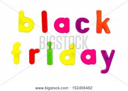 Plastic multicoloured plastic letters with the words Black Friday