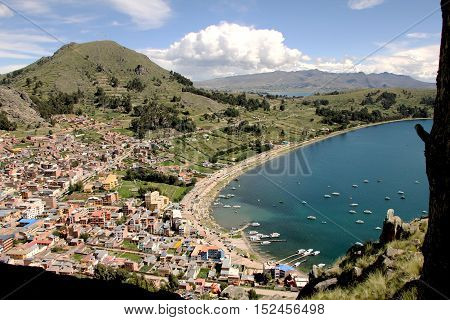 View of the Copacabana city located in Bolivia