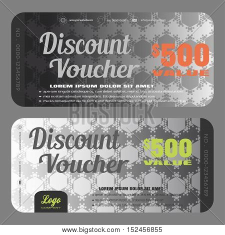 Blank of stylish grey discount voucher vector illustration to increase sales on gradient steel background with seamless pattern.