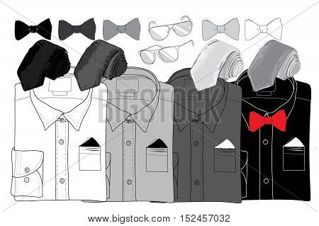 Vector illustration of Hand drawn, doodle coordination shirt, tie, spectacles. Men set on wood background. Hipster, natural style. Template for brochure, journal, flayer