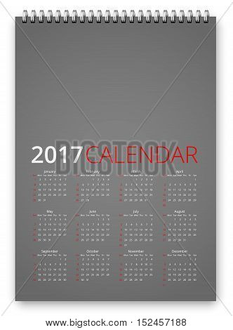 Simple calendar 2017 gray colored template. Week starts from sunday. Vector realistic spiral notepad notebook