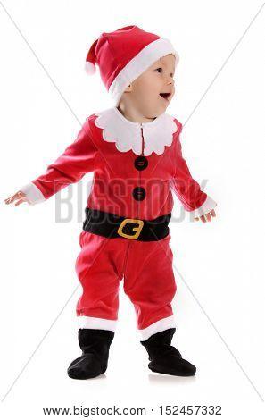 little boy with Santa costume
