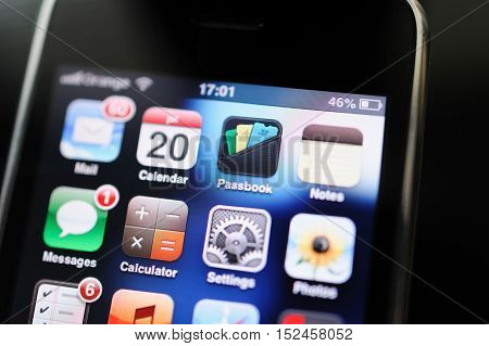FRANKFURT GERMANY - SEP 20 2012: First Apple iPhone 2G screen with all the major Apps - Mail calenddar notes passbook schedule notes. The iPhone is the first smartphone model designed and marketed by Apple. It is the first generation of iPhone that was an