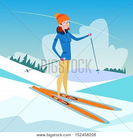 Woman Skiing Winter Activity Sport Vacation Snow Mountain Slope Flat Vector Illustration