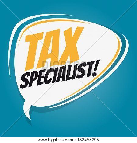 tax specialist retro speech balloon
