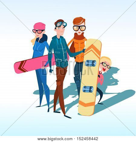 People Group With Ski Snowboard Winter Activity Sport Vacation Snow Mountain Slope Flat Vector Illustration