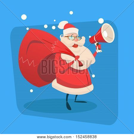 Santa Claus Hold Megaphone Gift Bag Copy Space Happy New Year Holiday Merry Christmas Flat Vector Illustration
