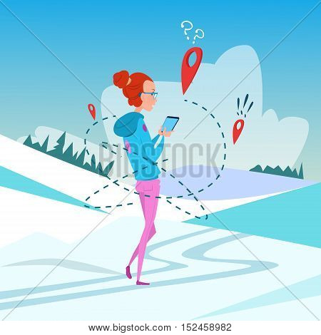 Woman Use Cell Smart Phone Gps Navigation Winter Vacation Snow Mountain Background Flat Vector Illustration