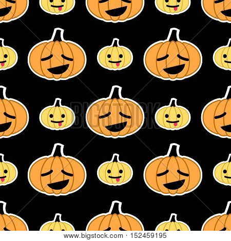 Vector seamless pattern for Halloween with emoji pumpkins at black background