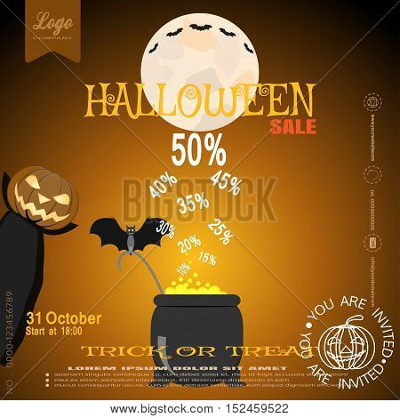Vector poster of Halloween sale with witch pumpkin magic cauldron bat moon on the gradient brown background.